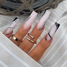 White Coffin Nails, Bling Acrylic Nails, Best Acrylic Nails, Pink Coffin, Stylish Nails, Trendy Nails, Long Square Acrylic Nails, Acylic Nails, Glamour Nails