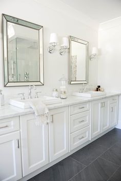 Beautiful bathroom decor some ideas. Modern Farmhouse, Rustic Modern, Classic, light and airy master bathroom design some ideas. Bathroom makeover ideas and bathroom renovation ideas. White Vanity Bathroom, Grey Bathrooms, Beautiful Bathrooms, Modern Bathroom, Bathroom Mirrors, Bathroom Lighting, Classic Bathroom, Dark Floor Bathroom, Master Bathrooms
