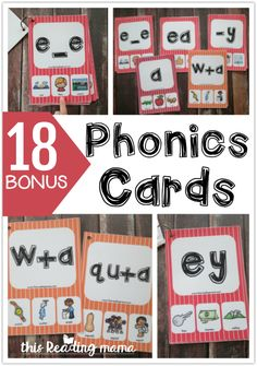 18 Bonus Phonics Cards - This Reading Mama Kids Reading, Teaching Reading, Teaching Math, Fun Learning, Preschool Activities, Reading Tutoring, Spelling Activities, Hands On Activities, Phonics Cards
