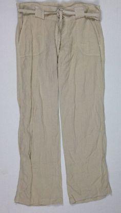 Juicy Couture Womens Khaki beige Linen Drawstring Pants Sz 6 #JuicyCouture #WideLegPants