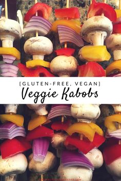 Veggie kabobs are a perfect reason to fire up your grill -- easy to make, filling, satisfying, and gluten-free and vegan! Vegan Dinner Recipes, Vegetarian Recipes Easy, Vegan Dinners, Dairy Free Recipes, Gluten Free, Vegetarian Kabobs, Vegan Kabobs, Healthy Grilling, Grilling Recipes