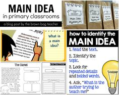 Awesome ideas for teaching main idea and FREE main idea graphic organizers (The Brown Bag Teacher)