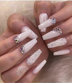 Nails swarovsky [Hair and beauty]Acrylic Nails swarovsky [Hair and beauty]Acrylic Nails swarovsky - Nails Bling Acrylic Nails, White Acrylic Nails, Best Acrylic Nails, Bling Nails, White Nails, Bling Nail Art, Swarovski Nails, Crystal Nails, Rhinestone Nails