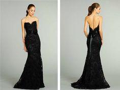 Black Mermaid Lace Bridesmaid Dress