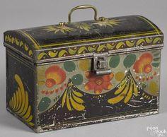 Pennsylvania toleware dome lid box, 19th c., 6 1/4'' h., 9 1/2'' w. Provenance: Delaware collection. - Price Estimate: $400 - $600