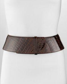 Curved Wide Alligator Belt Chocolate - Oscar de la Renta