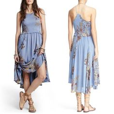 Free People Seasons In The Sun Slip Dress Blue Extra Small $128 FTC #3761