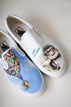 Custom Painted Shoes Up Wedding Theme#design #shoes