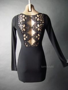 Black-Lace-Tattoo-Style-Cutout-Back-Gothic-Vamp-Club-Evening-Mini-54-ac-Dress-M