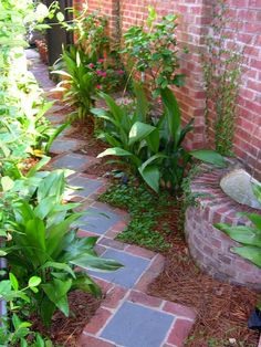 Because the space that encloses this path is a slim 4 feet across, Pennsylvania bluestone-and-brick steppers turned on the diagonal make it appear larger. The placement also provides more room to tuck in plantings.