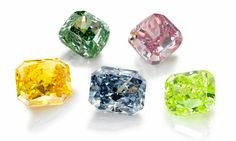 Diamonds come in all colours but these natural Fancy Colour Diamonds are rare and can be very expensive. One out of 10,000 normal diamonds is a fancy colour diamond. The colour of a fancy coloured diamond is measured differently to a normal diamonds. The grading scale is based on the intensity of the colour. The GIA fancy colour grading scale is: Faint, Very Light, Light, Fancy Light, Fancy, Fancy Intense, Fancy Vivid, Fancy Deep and Fancy Dark.