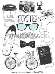 hand-drawn hipster accessories - stock vector