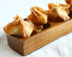 Crab Rangoon - instead of frying, Preheat oven to 425 degrees, and lightly spray a baking sheet with cooking spray. Arrange the rangoons on the baking sheet and lightly spray with cooking spray. Bake for 12-15 minutes, just until golden brown.