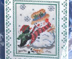 Design Works Crafts cross stitch greeting card Christmas penguin and snowman counted cross stitch kit