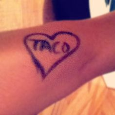 Taco Tattoo - looks temporary though. ;) [Photo Credit @whenwefight_james via Instagram] Taco Tattoos, Fish Tattoos, Photo Credit, Tatting, Tacos, Awesome, Instagram, Bobbin Lace, Needle Tatting