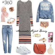 Jeans, grey and pink printed dress, denim jacket, blush pink scarf, white shoes, gold rings, gold bracelets, pink eye makeup