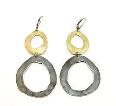 large double rough cut two tone earrings