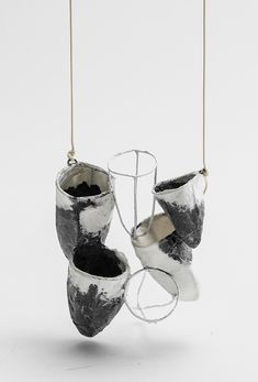 Paper Jewellery - modern monochrome vessel necklace made with mulberry paper; wearable art // Myung Urso