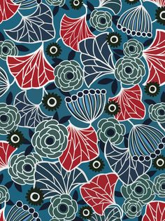 frameless pattern floral red aqua teal turquoise