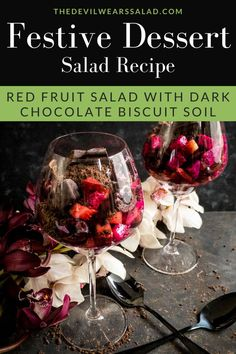 Red Fruit Salad with Dark Chocolate Biscuit Soil. Throwing a dinner party and you have a red theme going? This dessert fruit salad is perfect for the festive season such as Christmas, Chinese New Year and even Valentine's day! Red Dragon Fruit, Green Fruit, Chocolate Soil, Christmas Salad Recipes, Fresh Fruit Salad, Dessert Salads, Chocolate Biscuits, Food Festival, Festive