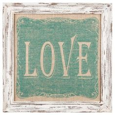 "%0A%09Pull together a vintage, shabby-chic, or country décor scheme with this inspiring Love on Burlap Framed Wall Art! %0A %0A%09This beautiful piece features a distressed off-white MDF frame, a burlap background, and a lovely, ornate painted turquoise shape with the word ""Love"" as a void in the center. Perfectly rustic and more than lovely, this piece will make a gorgeous addition to the wall of your living room, bedroom, hallway or entryway! %0A %0A%09  %0A %0A%09Dimensions: %0A %0A%09…"