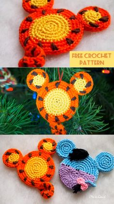 Cute Winnie the Pooh themed crochet appliques and coasters free crochet patterns. Free Crochet Square, Crochet Square Patterns, Knitting Patterns, Crochet Gifts, Diy Crochet, Crochet Toys, Crochet Mandala, Crochet Beanie, Crochet Flowers
