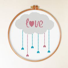 INSTANT DOWNLOAD Love Cloud Cross Stitch Pattern - Funny Modern Cross Stitch Pattern - Hearts Counted Cross Stitch Pattern