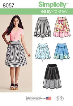 Misses' easy-to-sew skirt is gathered to a yoke. Make a mini length in a border print or galoon edge eyelet or lace, use sheer or net panels or play with stripe fabric as featured. Simplicity sewing pattern.