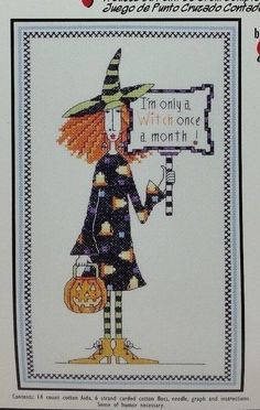 Counted Cross Stitch Kit Dolly Mamas ONLY A WITCH ONCE MONTH #019-0469 Janlynn #Janlynn #Multi