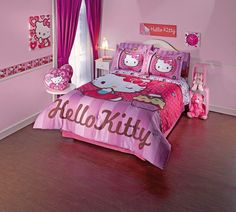 Hello Kitty Bedroom is one of the most popular interior theme for a girl's room. Hello Kitty bedroom requires simple and yet amazing decorative palette Hello Kitty Bedroom Set, Hello Kitty Rooms, Hello Kitty House, Hello Kitty Themes, Cat Bedroom, Girls Bedroom, Bedroom Decor, Bedroom Furniture, Dream Furniture