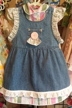 2-3T Upcycled Blue Jean Jumper with Lace Eyelet 2 by 4LittleWings