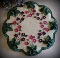Violets in My Garden wool penny rug candle mat kit