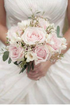 Exquisite Bridal Bouquet Which Includes: Soft Pastel Pink Roses, White Freesia, White Wax Flower & Green Seeded Eucalyptus~~ Rose And Gypsophilia Bouquet, Pink Bouquet, White Roses, Pink Roses, Pink Flowers, Rose Floral Crowns, Bride Bouquets, Bouquet Wedding, Bridal Flowers