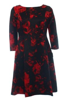 Jessica Howard NEW Black Red Rose Floral Print Women's Size 12 Sheath Dress $80