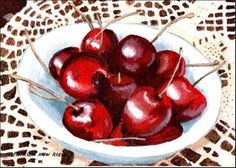 """""""Life is Just a Bowl of Cherries"""" - Original Fine Art for Sale - © Patricia Ann Rizzo  http://dailypaintworks.com/fineart/patricia-ann-rizzo/life-is-just-a-bowl-of-cherries/155724"""
