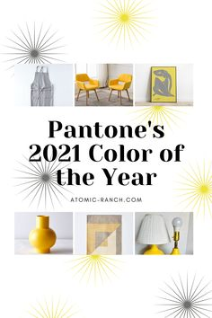 Ultimate Gray and Illuminating take center-stage in this shopping roundup of Pantone Color of the Year 2021. Learn more at Atomic-Ranch.com. Atomic Ranch, Calming Colors, Mid Century Modern Decor, Colorful Chairs, Upholstered Sofa, Shades Of Yellow, Center Stage, Color Of The Year, Pantone Color