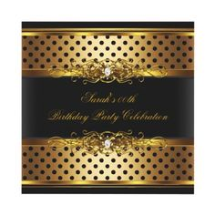 Elegant Birthday Party Black Gold Spot Invitations $2.25