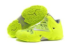 #LeBron James 11 Volt Fluorescence Green Ladies Nike Shoes