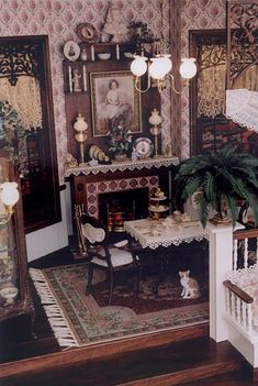 Miniature Victorian Style Dining Room in scale. Plenty of details to examine in this one. Dollhouse Kits, Modern Dollhouse, Dollhouse Dolls, Dollhouse Miniatures, Dollhouse Interiors, Victorian Dollhouse Furniture, Vintage Dollhouse, Victorian Dolls, Victorian Decor