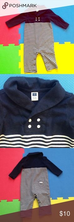 Janie & Jack Nautical Outfit Nautical/Sailor Outfit. Worn one time- gentle wear. Looks really cute worn with a J&J hat. Unfortunately, my son decided hats are annoying and threw it out somewhere. 🙊 Leg snaps.Washed with free&clear.  Size 6-12 months.   💰15% off 2+ bundles ♥️ Pet & Smoke Free Home  📬 Usually ships in 1 business day Janie and Jack One Pieces Bodysuits