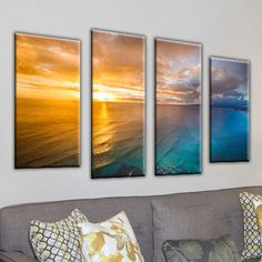 Framed Canvas Art 'Gold Coast Sunset 2' by Cameron Brooks 4 Piece Photographic Print on Wrapped Canvas Set