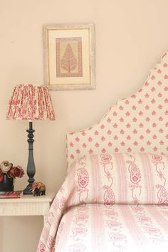 Neisha Fabric in Pink & Cream by Kate Forman. A beautiful Indian floral motif printed onto a linen for a vintage look. Shop Curtain fabric at F&P Interiors Pink Headboard, Headboards, Headboard Shapes, Kate Forman, Pastel Interior, Bohemian Interior, Vintage Floral Fabric, Rosa Rose, Pretty Bedroom
