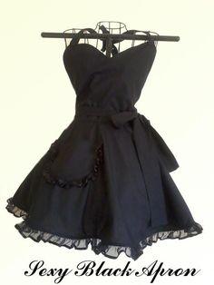 I need this apron! Super Cute Black Retro Apron Classy Little Black by ArtsyCraftsyBoutique, $33.00