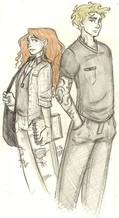 A sketch of Clary and Jace in City of Bone around the time they met and Clary didn't even had any runes yet…