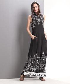 Another great find on #zulily! Black Tapestry Hooded Maxi Dress #zulilyfinds