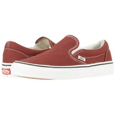 Vans Classic Slip-On (Madder Brown/True White) Skate Shoes ($50) ❤ liked on Polyvore featuring shoes, sneakers, boat shoes, white shoes, white boat shoes, slip on skate shoes and white slip on sneakers