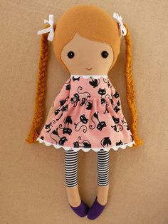Reserved for Katie Fabric Doll Rag Doll Girl with por rovingovine