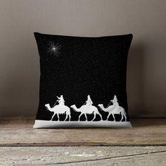 Almohadas de vacaciones   Cojines de Navidad   Decoración festiva   Adornos de Navidad - Tres Reyes Magos cubierta del amortiguador ¡