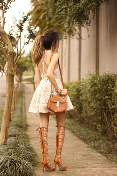 lace dress and gladiator sandals