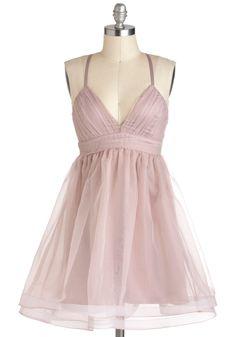 Lavender Blush Dress - Mid-length, Pink, Solid, Prom, Pastel, Empire, Spaghetti Straps, Ballerina / Tutu